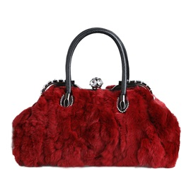 Korean Style Solid Color Plush Women Satchel