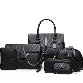 Classic Litchi Grain Solid Color Women Bag Set