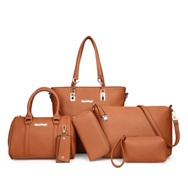 Well-Match Solid Color Bag Set (6 Bags Set)