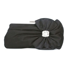 Silk Bowknot Rhinestone Adornment Clutch