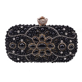 Hand-Made Embroidered Pearl Evening Clutch