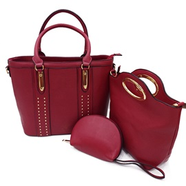 Stylish Rivet Decoration Women Bag Set