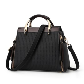 Concise Vertical Pattern Zipper Women Satchel
