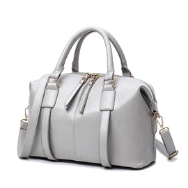Big Capacity Solid Color Zipper Women Satchel