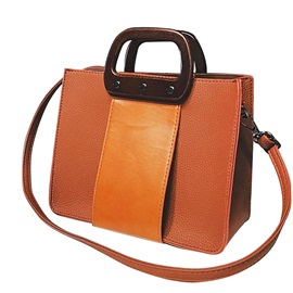Trendy Solid Color PU Women Satchel