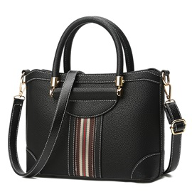 Ladylike Color Block Stripe Zipper Satchel