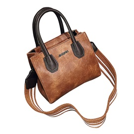 Wide Shoulder Straps Solid Color Women Satchel