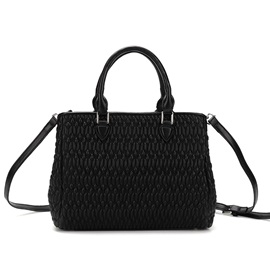 Pleated Soft PU Zipper Women Satchel