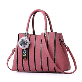 Concise Stripe Pattern PU Women Handbag
