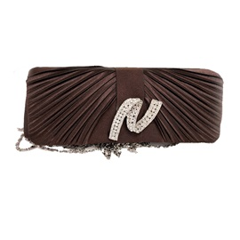 Pleated Rhinestone Decoration Clutch