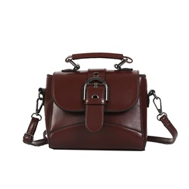 Retro Belt Decorated Solid Color Satchel