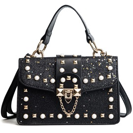 Shining Sequins PU Color Block Tote Bag