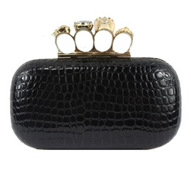 Vintage Solid Color Ring Decoration Women Evening Bag