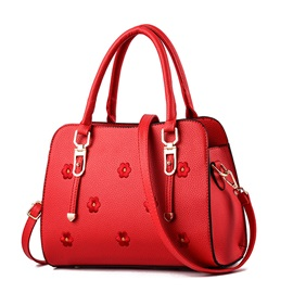 PU Floral Embossing Square Tote Bags