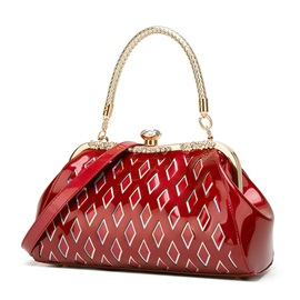Quilted Lining Plaid PU Rectangle Tote Bags