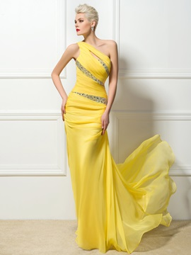 One-Shoulder Sheath Beading Evening Dress