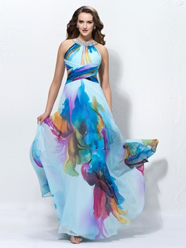 A-Line Jewel Printing Sequins Long Prom Dress