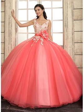 Ball Gown Straps V-Neck Lace Flowers Quinceanera Dress