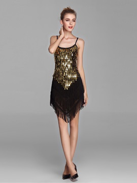 Dazzling Spaghetti Strsps Golden Sequins Tassel Short Party/Cocktail Dress