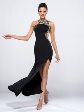 Sheath Hollow Beading Split-Front Long Evening Dress
