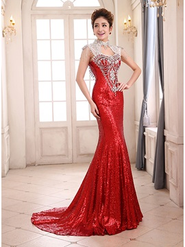 High Neck Sequins Rhinestone Backless Evening Dress