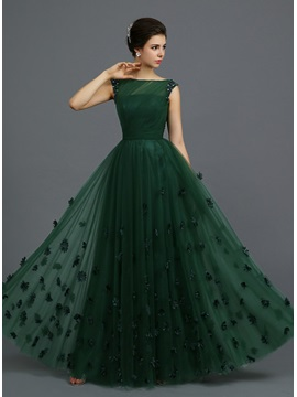 Bateau Neck Beading Flowers A-Line Evening Dress