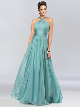 A-Line Halter Pleats Prom Dress