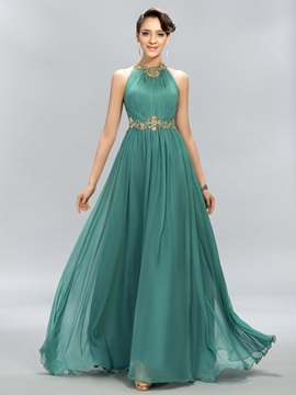 Jewel Beading A-Line Long Sashes Formal Evening Dress