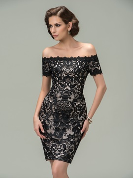 Sheath Off-the-Shoulder Lace Short Black Cocktail Dress