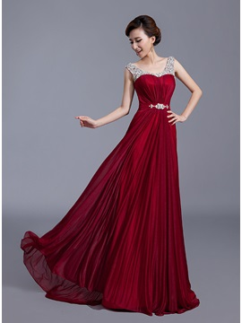 Straps Crystal A-Line Long Prom Dress