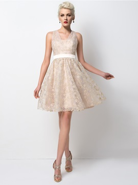 Pretty V-Neck Lace Sashes A-Line Short Cocktail Dress