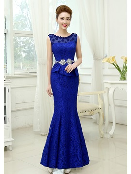 Sheath Lace Flowers Beading Long Evening Dress