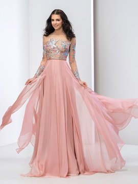 A-Line Bateau Neck Long Sleeves Appliques Prom Dress