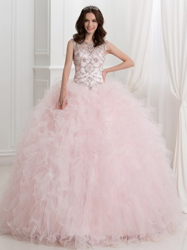 Dramatic Straps Beading Ruffles Ball Gown Quinceanera Dress