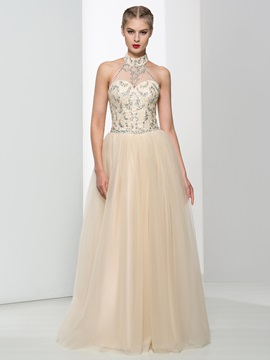 Halter Sequins Beading A-Line Tulle Prom Dress