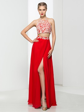 Modern Halter Appliques Red Two Piece Prom Dress