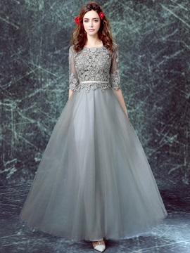 Vintage Half Sleeves Appliques Tulle Evening Dress