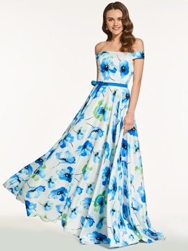 Off-the-Shoulder A-Line Printed Long Evening Dress