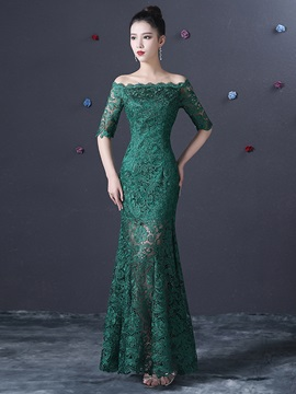 Off the Shoulder Lace Floor-Length Evening Dress
