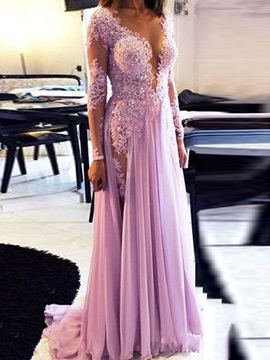 Deep V-Neck Appliques Beading Evening Dress 2019