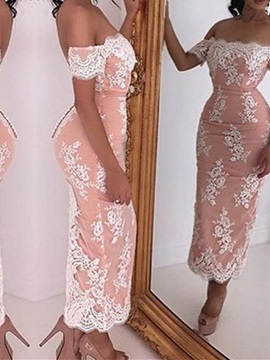 Sexy Off the Shoulder Short Sleeves Sheath Lace Formal Dress