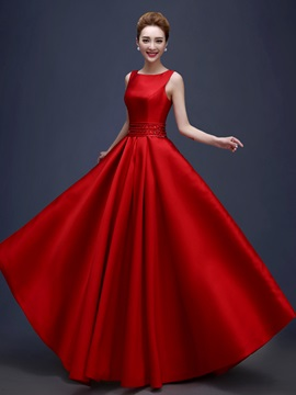Square Neck Beading Sequins Pockets Red Evening Dress