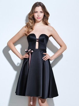 Casual Sweetheart Sashes Hollow Black Cocktail Dress