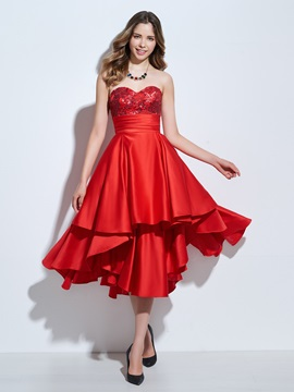 Sweetheart Sequins Appliques Red Homecoming Dress