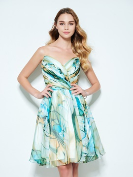 Amazing Sweetheart Pleats Print Homecoming Dress