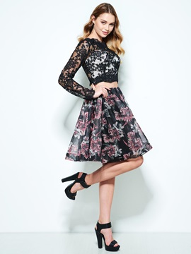 Lace Long Sleeves Print Two Piece Homecoming Dress