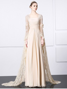 Vintage Square Long Sleeves Pleats Lace Evening Dress