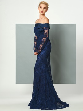 Gorgeous Mermaid Off-the-Shoulder Long Sleeves Bowknot Lace Sweep Train Evening Dress