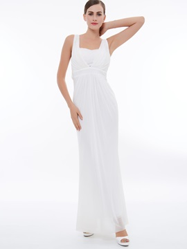 Straps Ruched Lace Long Column Evening Dress