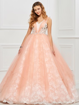 Lovely Ball Gown V-Neck Beading Lace Floor-Length Quinceanera Dress